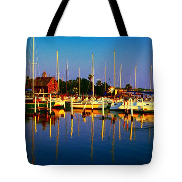 Daytona Beach Florida Inland Waterway Private Boat Yard With Bird   Tote Bag
