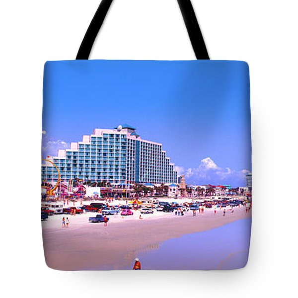 Tote Bag featuring the photograph Daytona Main Street Pier And Beach  by Tom Jelen