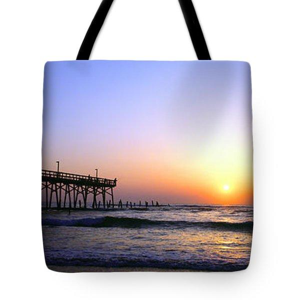 Tote Bag featuring the photograph Daytona Sun Glow Pier  by Tom Jelen