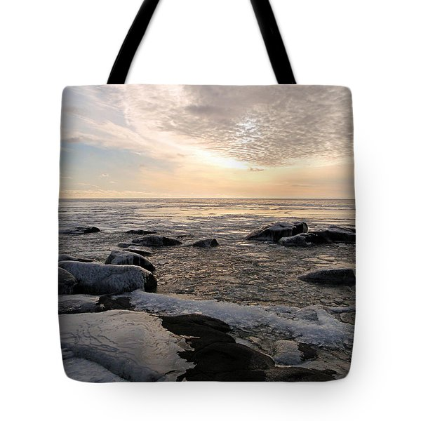 Tote Bag featuring the photograph Dazzling Winter On Lake Superior by James Peterson