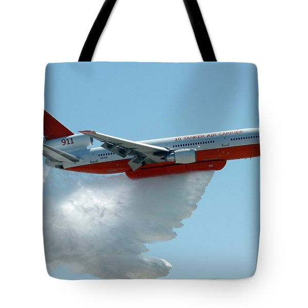 Dc10 Aerial Tanker Dropping Water Tote Bag