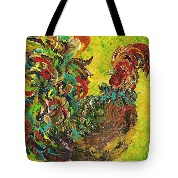 Tote Bag featuring the painting De Colores Rooster #2 by Eloise Schneider
