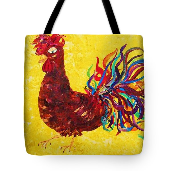 Tote Bag featuring the painting De Colores Rooster by Eloise Schneider