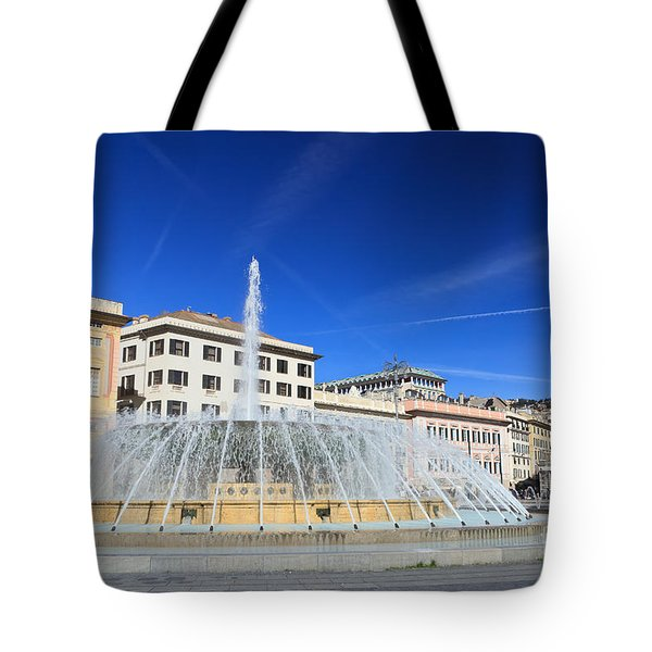 De Ferrari Square - Genova Tote Bag by Antonio Scarpi