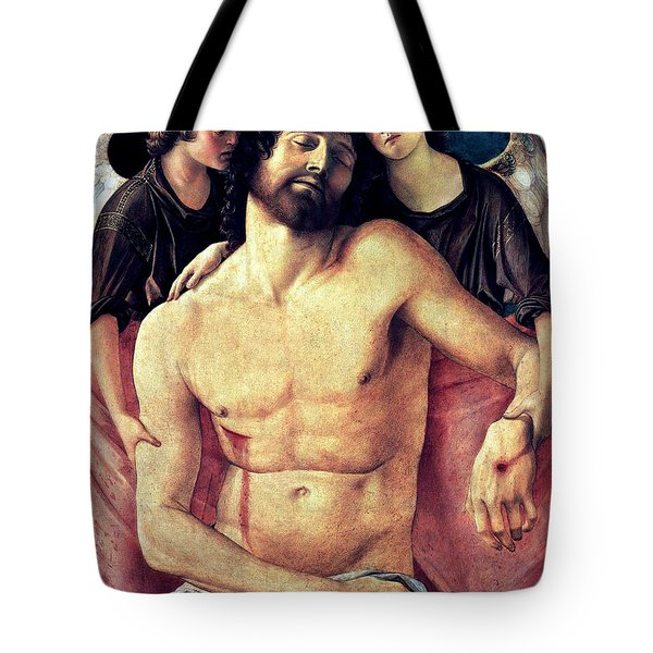 Tote Bag featuring the painting Dead Christ Supported By Angels 1485 Giovanni Bellini by Karon Melillo DeVega