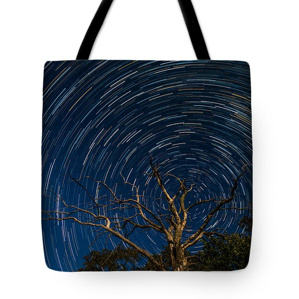 Dead Oak With Star Trails Tote Bag