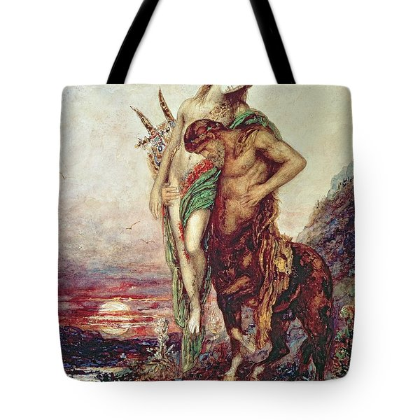 Dead Poet Borne By Centaur Tote Bag by Gustave Moreau