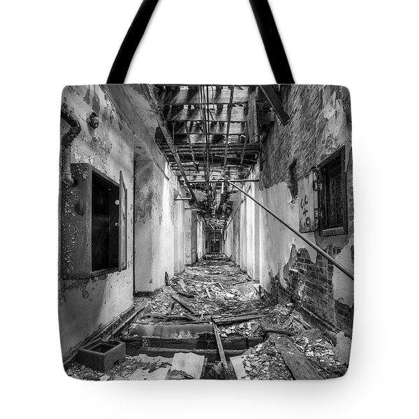 Deadly Corridor - Abandoned Asylum Building Tote Bag by Gary Heller