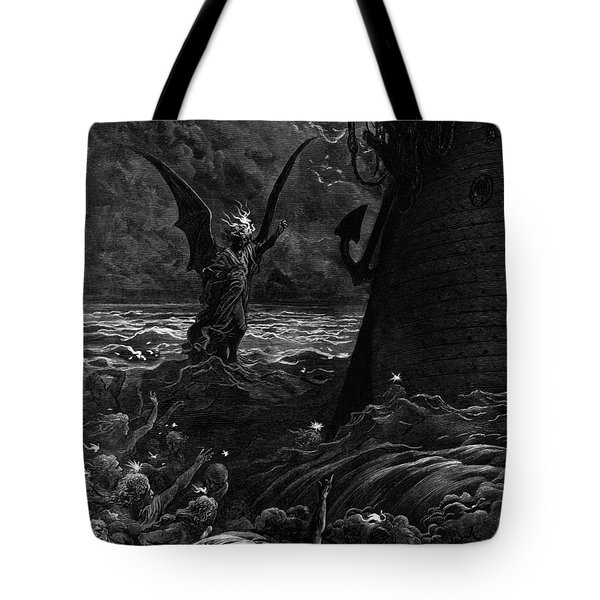 Death-fires Dancing Around The Becalmed Ship Tote Bag by Gustave Dore