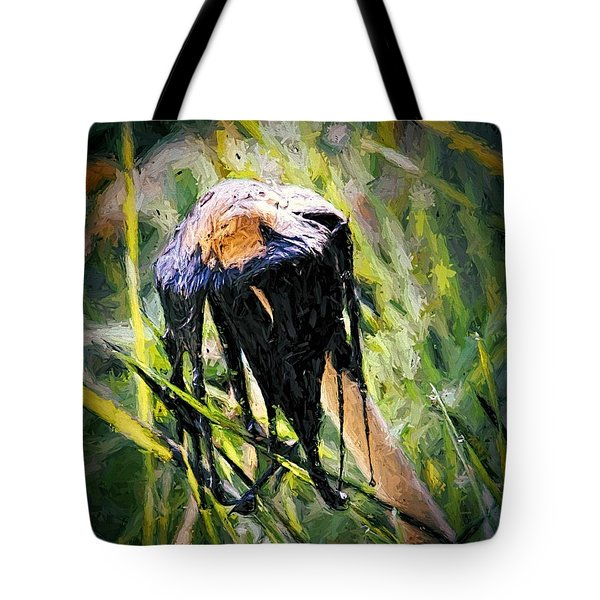 Tote Bag featuring the painting Death Of A Mushrrom by Tracie Kaska