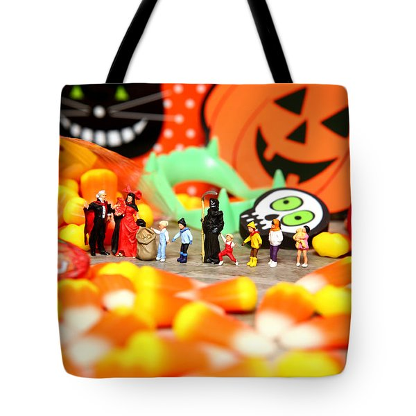 Death Takes His Kids Trick Or Treating Tote Bag by Lon Casler Bixby