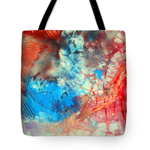 Tote Bag featuring the painting Decalcomaniac Colorfield Abstraction Without Number by Otto Rapp