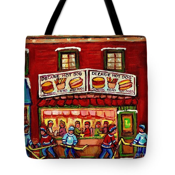 Decarie Hot Dog Restaurant Cosmix Comic Store Montreal Paintings Hockey Art Winter Scenes C Spandau Tote Bag
