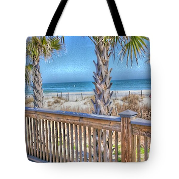 Tote Bag featuring the photograph Deck On The Beach by Gayle Price Thomas