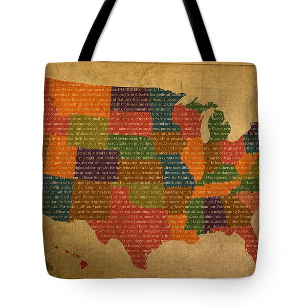 Declaration Of Independence Word Map Of The United States Of America Tote Bag by Design Turnpike