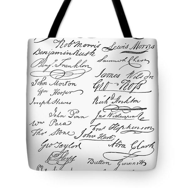 Declaration: Signatures Tote Bag by Granger