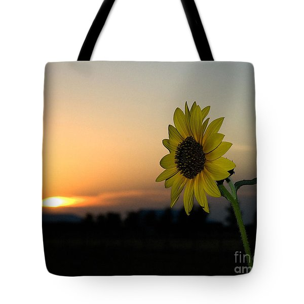 Tote Bag featuring the photograph Sunflower And Sunset by Mae Wertz