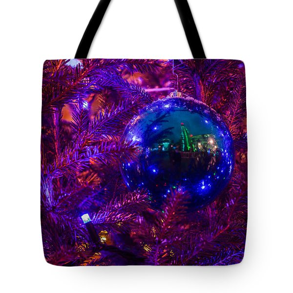 Decoration Ball On A Christmas Tree Illuminated With Red Light - Featured 3 Tote Bag by Alexander Senin