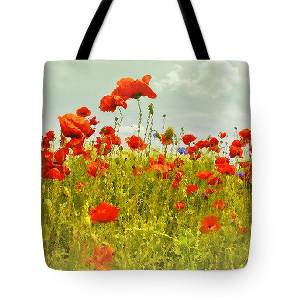 Decorative-art Field Of Red Poppies Tote Bag by Melanie Viola