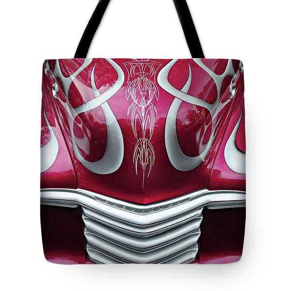 Tote Bag featuring the photograph Decorative Chevrolet Hood by Dave Mills