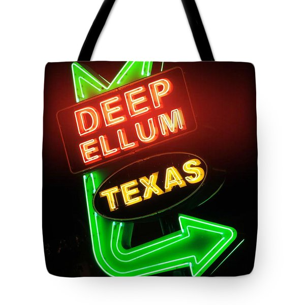 Deep Ellum Red Glow Tote Bag