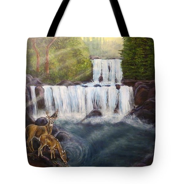 A Tall Drink Of Water For A Pair Of White Tailed Deer In The Great Smoky Mountains Tote Bag