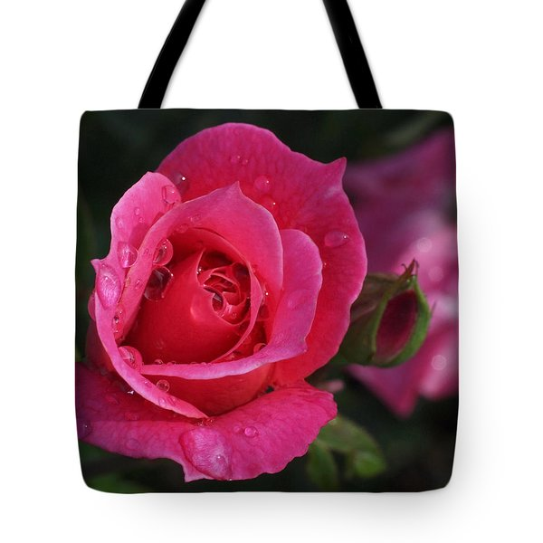 Deep Pink Beauty Tote Bag by Rona Black