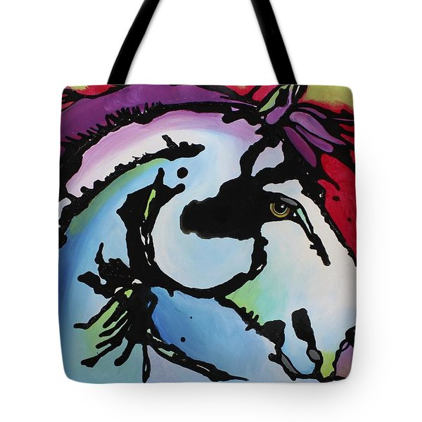 Tote Bag featuring the painting Deep Red Bells by Nicole Gaitan