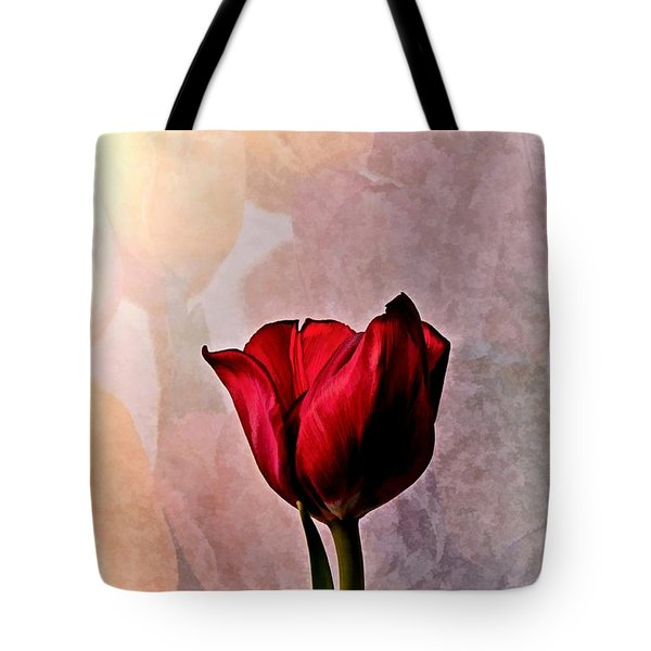 Deep Red Tulip On Pale Tulip Background Tote Bag