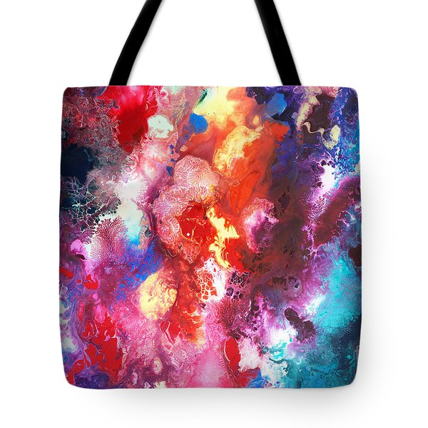 Deep Water Coral Tote Bag by Sally Trace