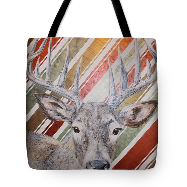 Tote Bag featuring the painting Deer Deco by PainterArtist FINs husband