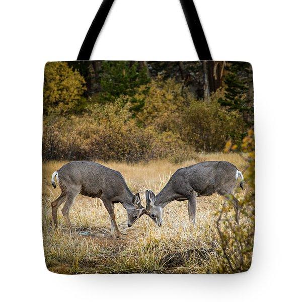 Deer Games Tote Bag by Janis Knight