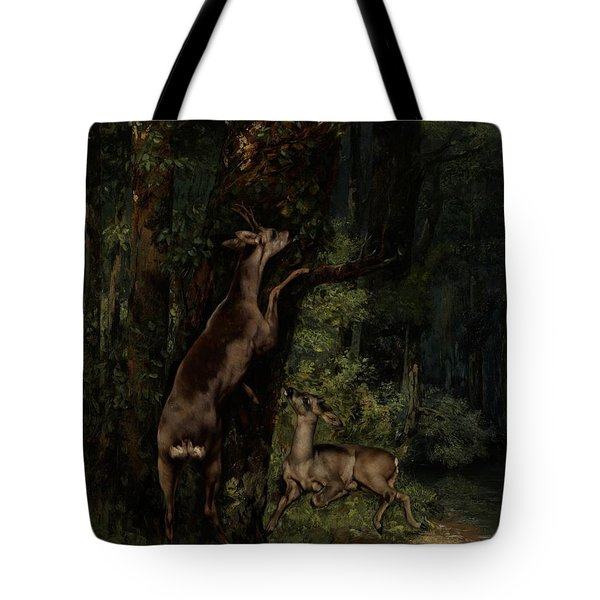 Deer In The Forest Tote Bag by Gustave Courbet