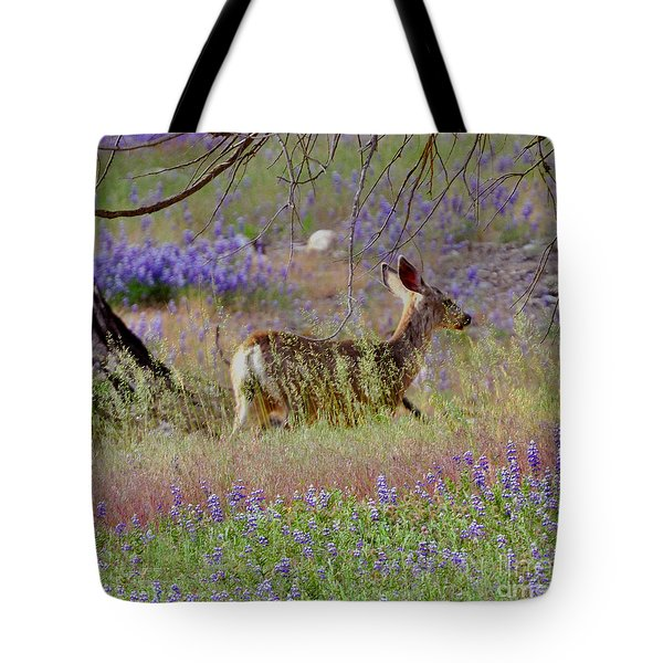 Tote Bag featuring the photograph Deer In The Meadow by Debby Pueschel