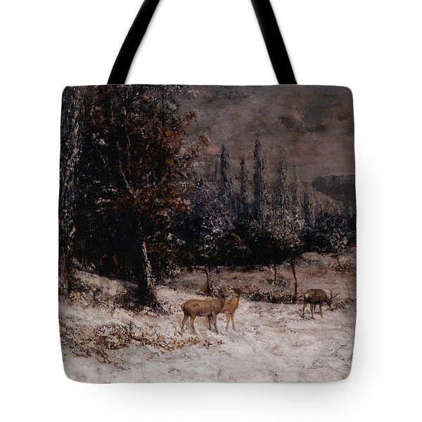 Deer In The Snow Tote Bag by Gustave  Courbet