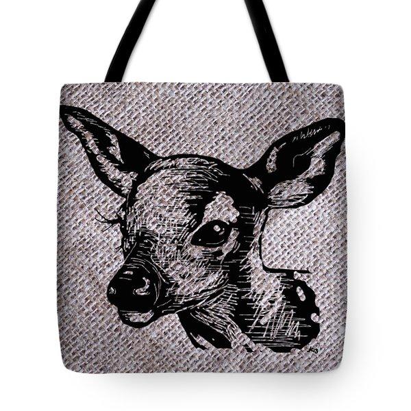 Deer On Burlap Tote Bag