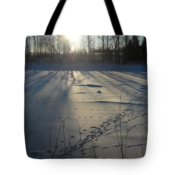 Deer Tracks On The River Tote Bag