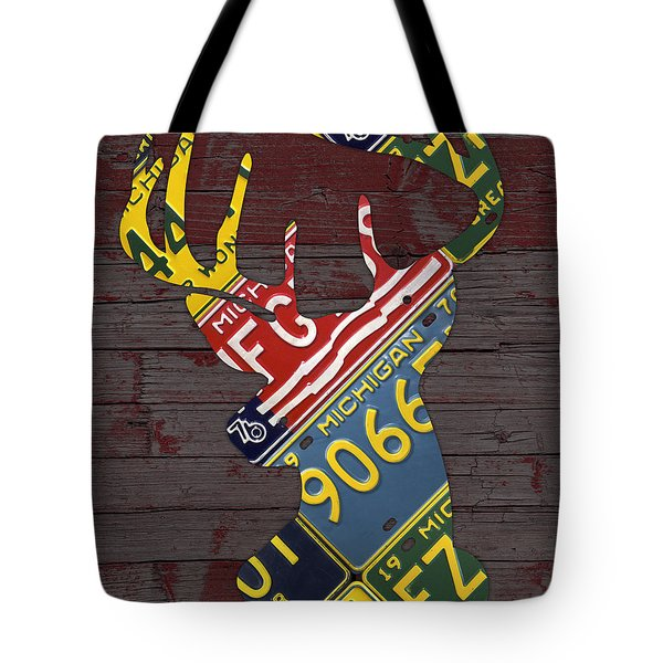 Deer With Antlers Michigan Recycled License Plate Art Tote Bag