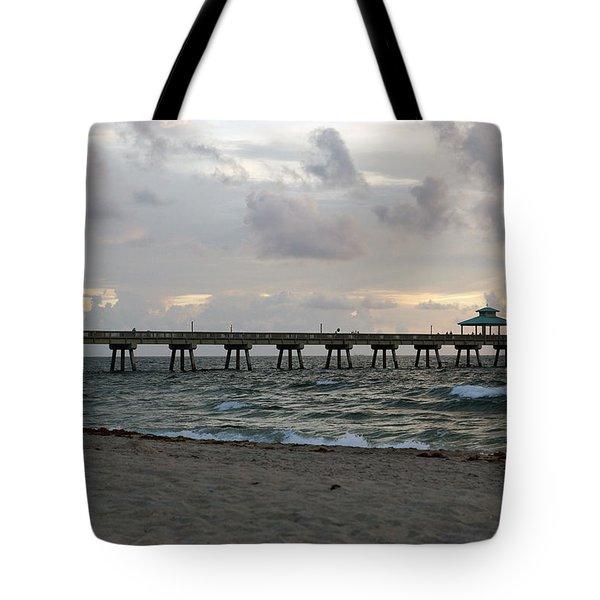 Tote Bag featuring the photograph Deerfield Beach International Fishing Pier Sunrise by Rafael Salazar