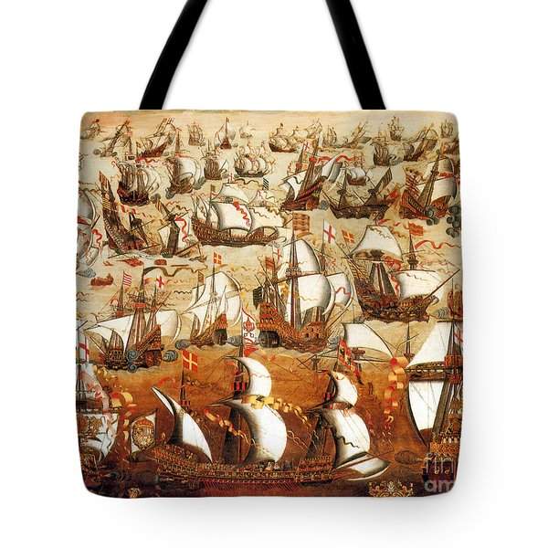 Defeat Of The Spanish Armada 1588 Tote Bag by Photo Researchers