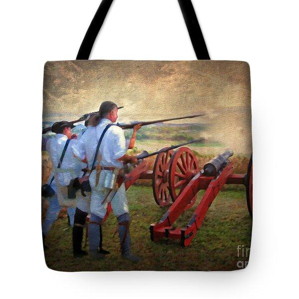 Defending Bemis Heights 1777 Tote Bag by Lianne Schneider