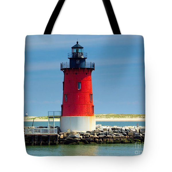 Delaware Breakwater Lighthouse Tote Bag by Nick Zelinsky