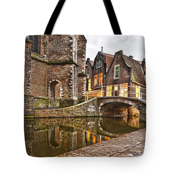Delft Behind The Church Tote Bag by Frans Blok