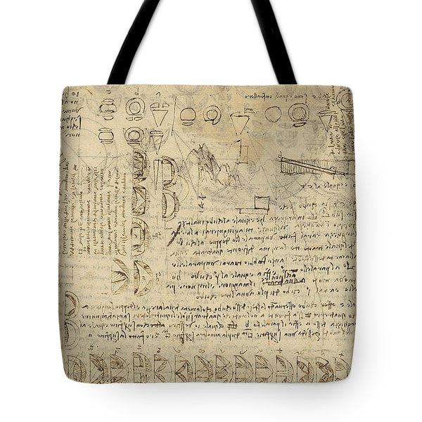 Delian Problem Or Doubling Cube Equivalence Among Various Parts Of Circle From Atlantic Codex  Tote Bag by Leonardo Da Vinci
