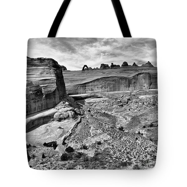 Delicate Arch In The Distance In Monochrome - Arches National Park - Moab Utah Tote Bag