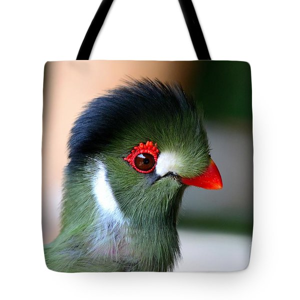Delicate Green Turaco Bird With Red Beak White Patches And Black Crown Tote Bag