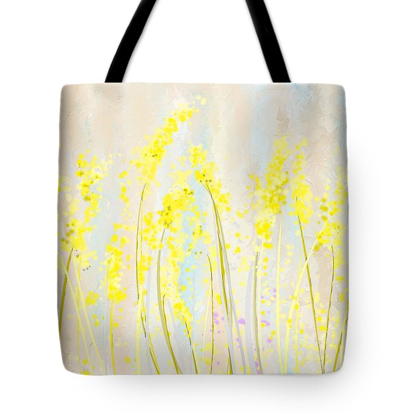 Delicately Soft- Yellow And Cream Art Tote Bag