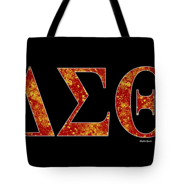 Tote Bag featuring the digital art Delta Sigma Theta - Black by Stephen Younts