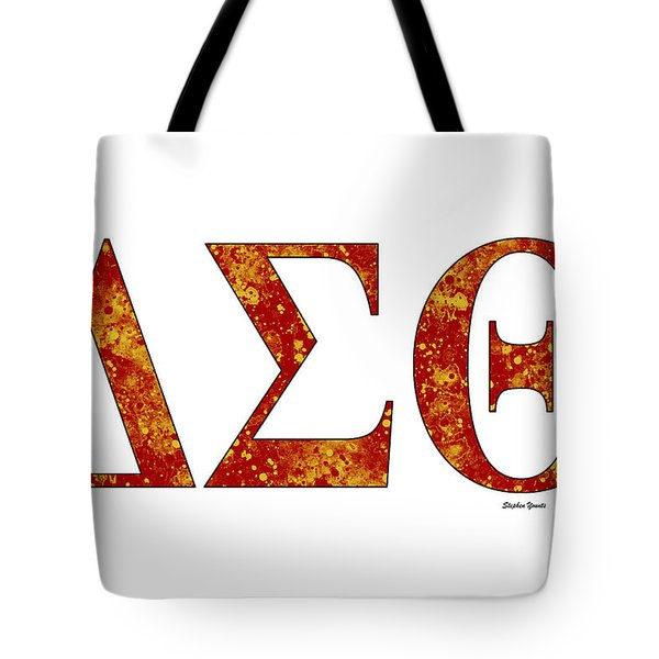 Tote Bag featuring the digital art Delta Sigma Theta - White by Stephen Younts