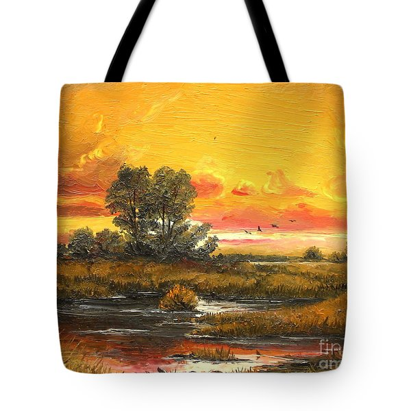 Tote Bag featuring the painting Delta Sunset by Sorin Apostolescu